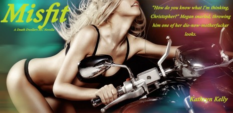 Sexy blond girl riding a motorcycle with speed